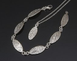 Textured Oval Pendant and Bracelet